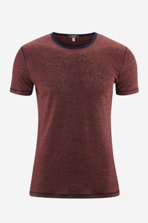 T-shirt 100% ekolin ANDY finrandig röd/marinblå