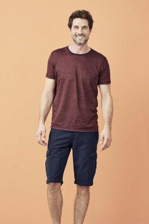 T-shirt 100% ekolin ANDY finrandig röd/marinblå modell helbild
