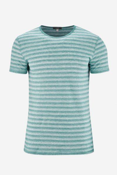 T-shirt 100% lin ANDY randig grönturkos/vit