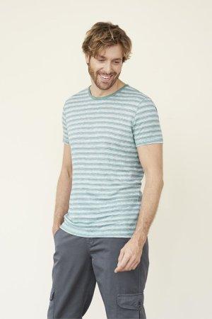 T-shirt 100% lin ANDY randig turkos/vit modell
