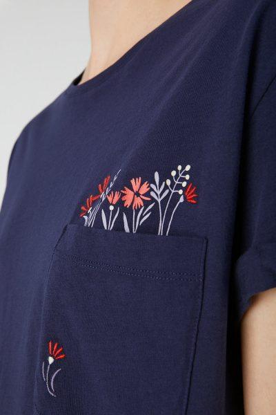 topp broderade blommor naalin mörkblå modell närbild
