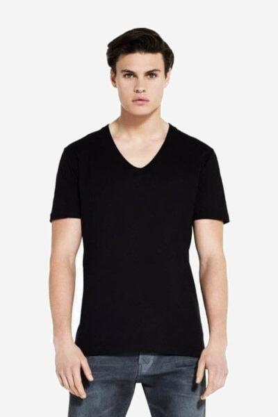 t-shirt v-ringad herr modell svart