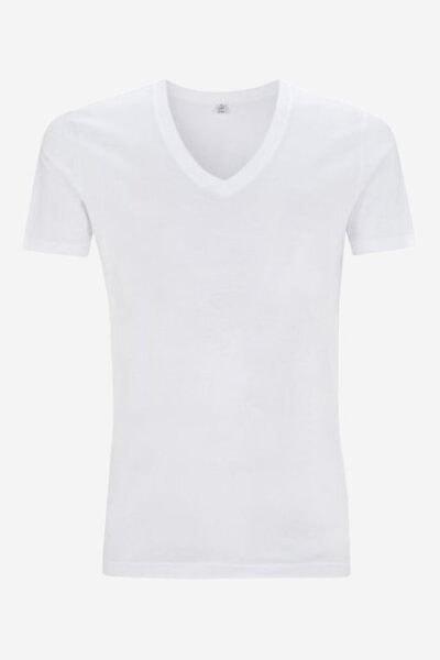 t-shirt v-ringad herr vit