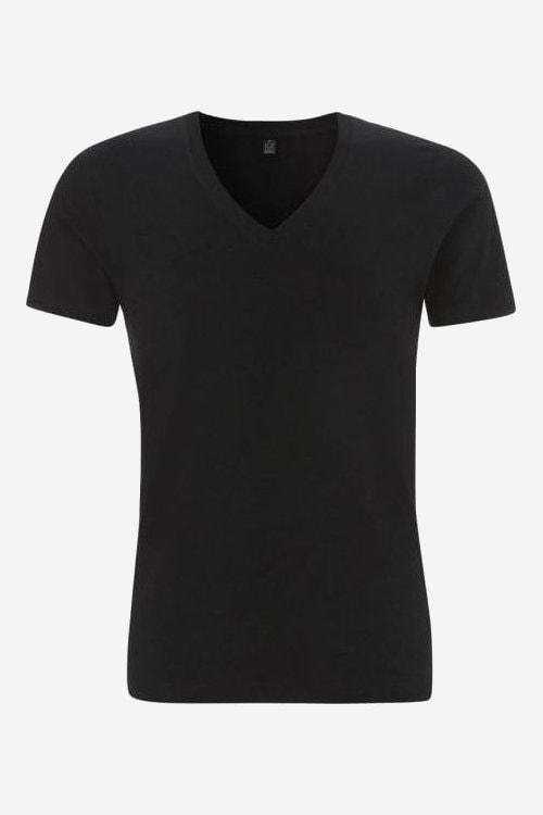 T shirt v ringad herr svartvit