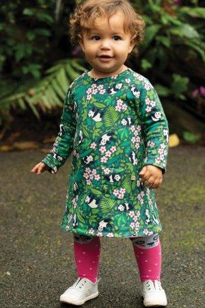Barnklänning vändbar applikation panda, 1-4 år