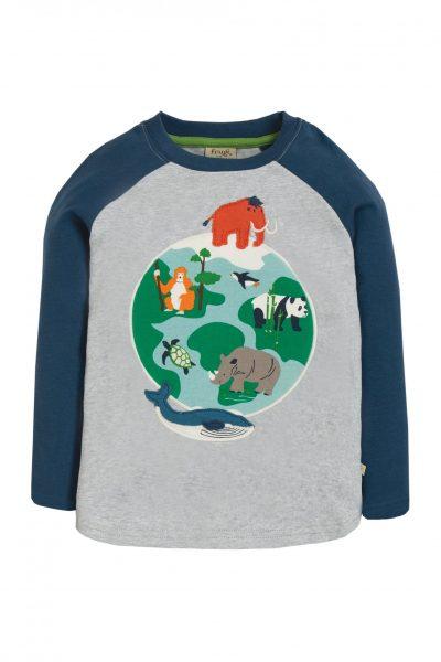 Barntröja applikation jorden grå/blå, 4-10 år
