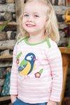 Barntröja randig applikation fågel, 0-3 år