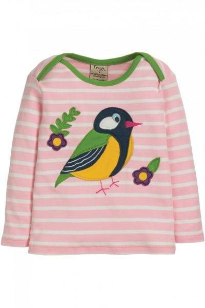Barntröja randig applikation fågel, 0-4 år