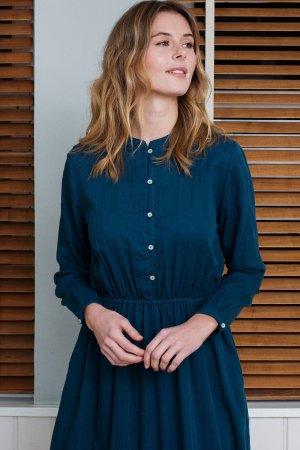 Skjortklänning blåpetrol modell