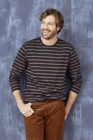 tröja mörkblå rostbruna ränder modell