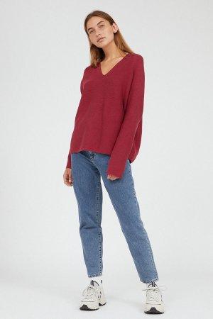 tröja stickad faarina rosenröd modell helbild