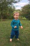 barntröja petrol/turkos randig modell