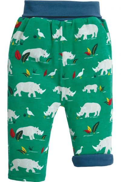 byxor baby & barn mjukis noshörning vändbara uppkavlat ben