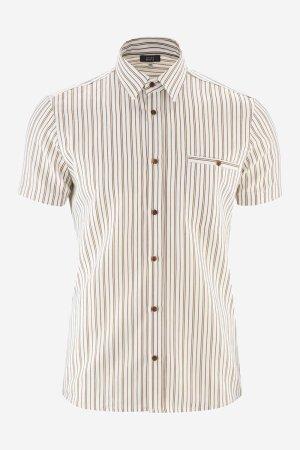 skjorta kortärm linmix george vit/brun randig