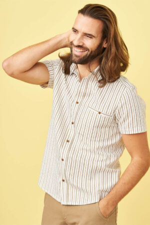 skjorta kortärm linmix george vit/brun randig modell