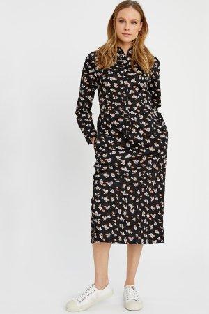 skjortklänning fickor blomtryck piper modell helbild