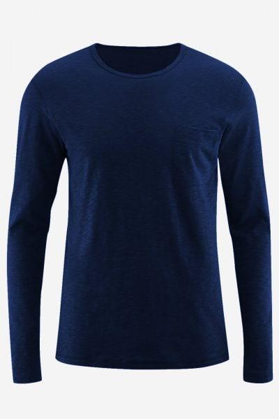 Tröja långärmad med ficka blå