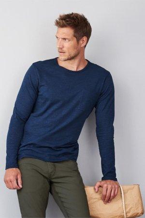 tröja långarmad ficka blå modell