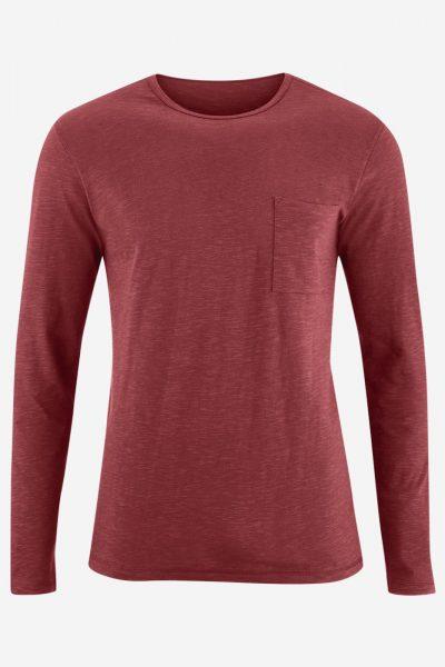 tröja långarmad ficka roströd