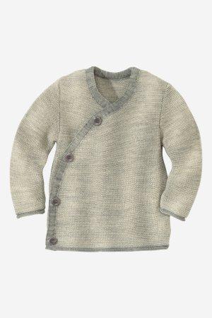 tröja omlott stickad ull baby/barn grå/vit
