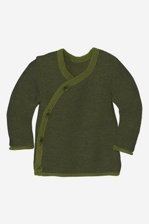 tröja omlott stickad ull baby/barn mörkgrön/svart