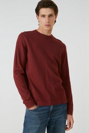 tröja stickad laado vinröd modell