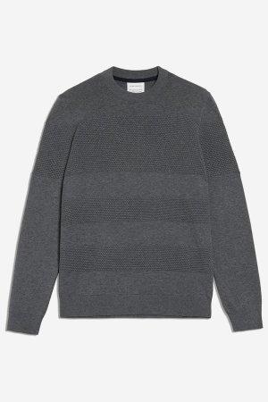 tröja strukturstickad baabel gråmelerad