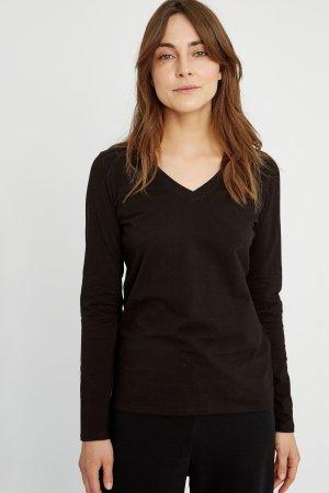 tröja basic v-hals svart modell