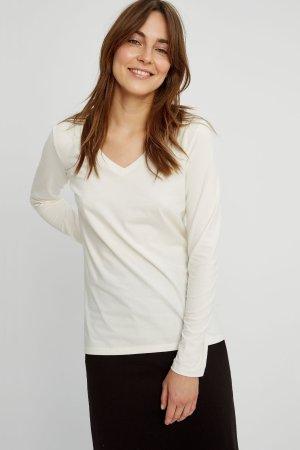 tröja basic v-hals vit modell