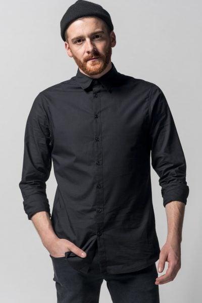 skjorta slimfit svart modell med mössa