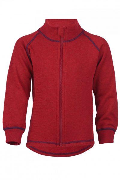 tröja dragkedja ullfrotté barn röd