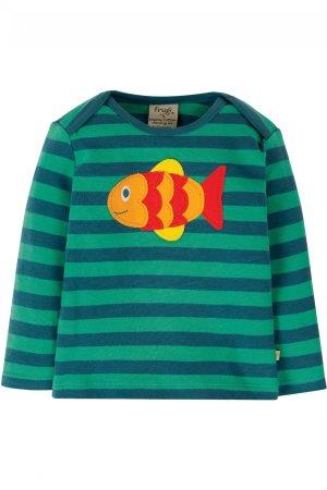 Barntröja randig applikation fisk