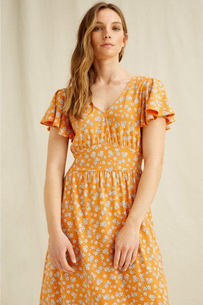 maxiklänning blomtryck morgan orange modell