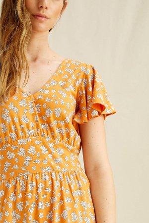 maxiklänning blomtryck morgan orange modell detalj