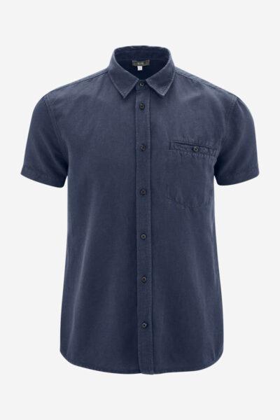 Skjorta kortärm linmix GEORGE mörkblå