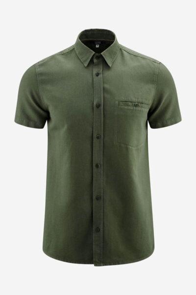 Skjorta kortärm linmix GEORGE mörkgrön