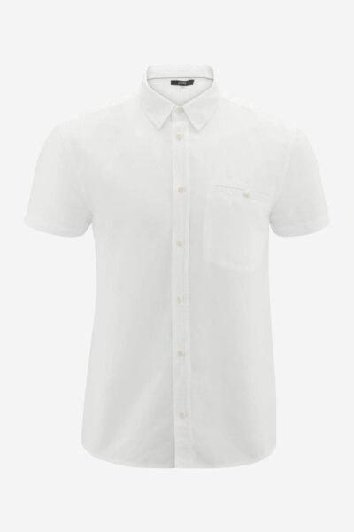 Skjorta kortärm linmix GEORGE vit