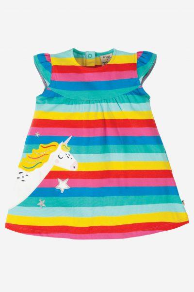 barnklänning kortärm applikation enhörning