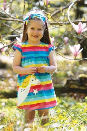 barnklänning kortärm applikation enhörning baksida modell