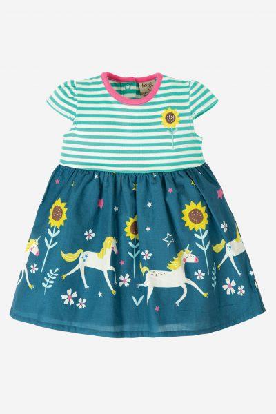 barnklänning kortärm solrosor och enhörningar