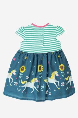 barnklänning kortärm solrosor och enhörningar baksida