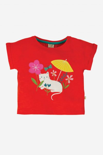 Sophia Slub T-Shirt, Koi Red/Cat, 3 mån-8 år
