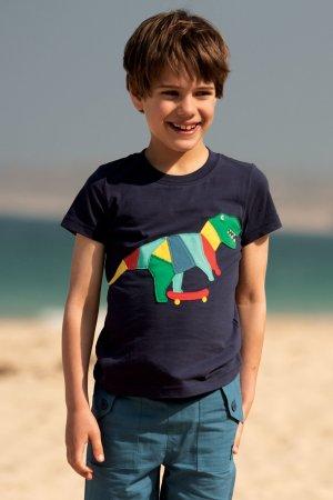 barntröja kortärm applikation dinosaurie modell
