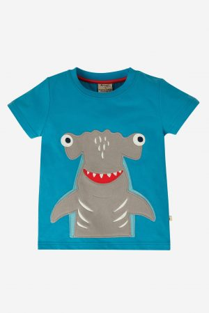 James Applique T-Shirt, Motosu Blue/Shark, 2-10 år