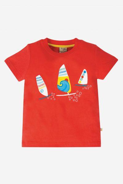 Barntröja kortärm applikation segelbåtar