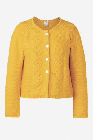 Clover Cable Knit Cardigan, Bumble Bee