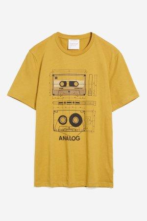 t-shirt retro kasettband jaames gul