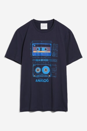 t-shirt retro kasettband jaames marinblå