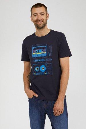 t-shirt retro kasettband jaames marinblå modell