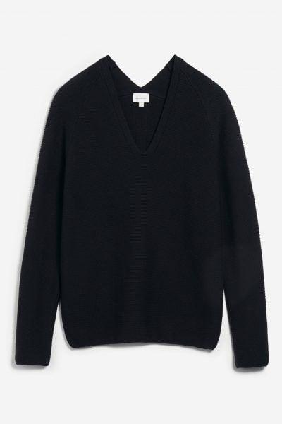 tröja stickad faarina svart